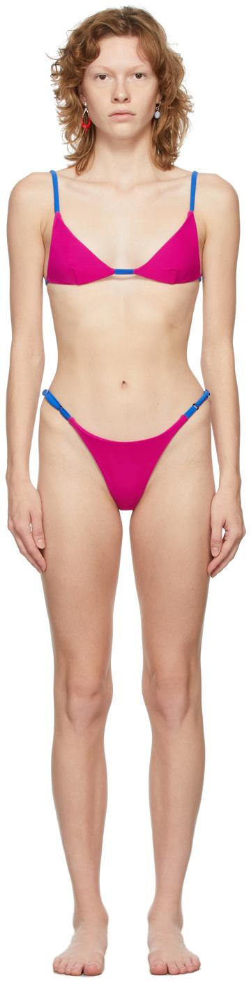 SSENSE Exclusive Pink Contrast Ties Bikini