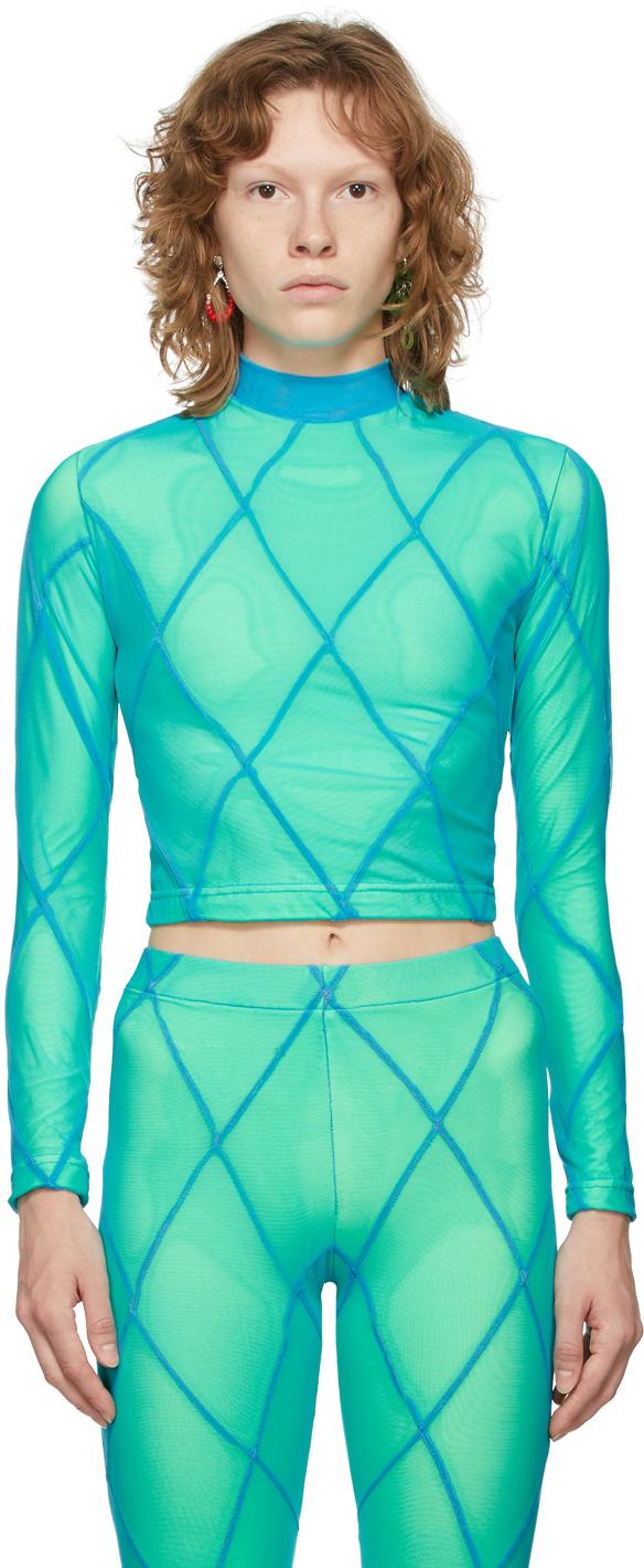 SSENSE Exclusive Blue & Green Diamond Seam Long Sleeve T-Shirt