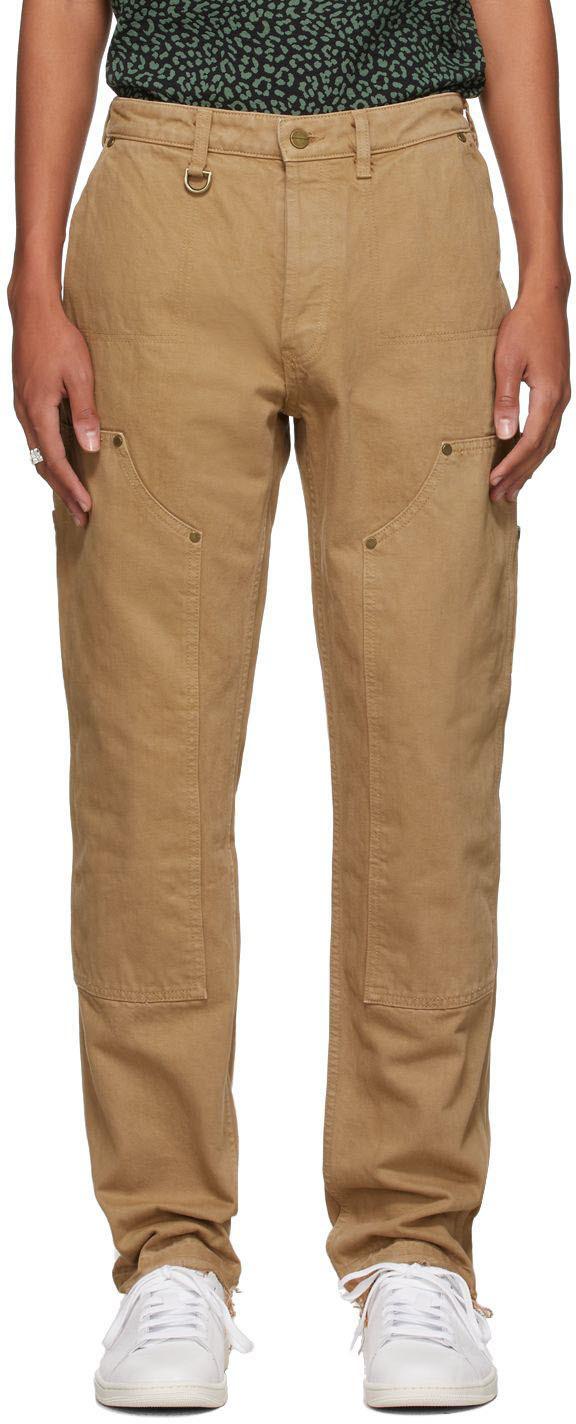 Khaki Denim Double-Knee Trousers