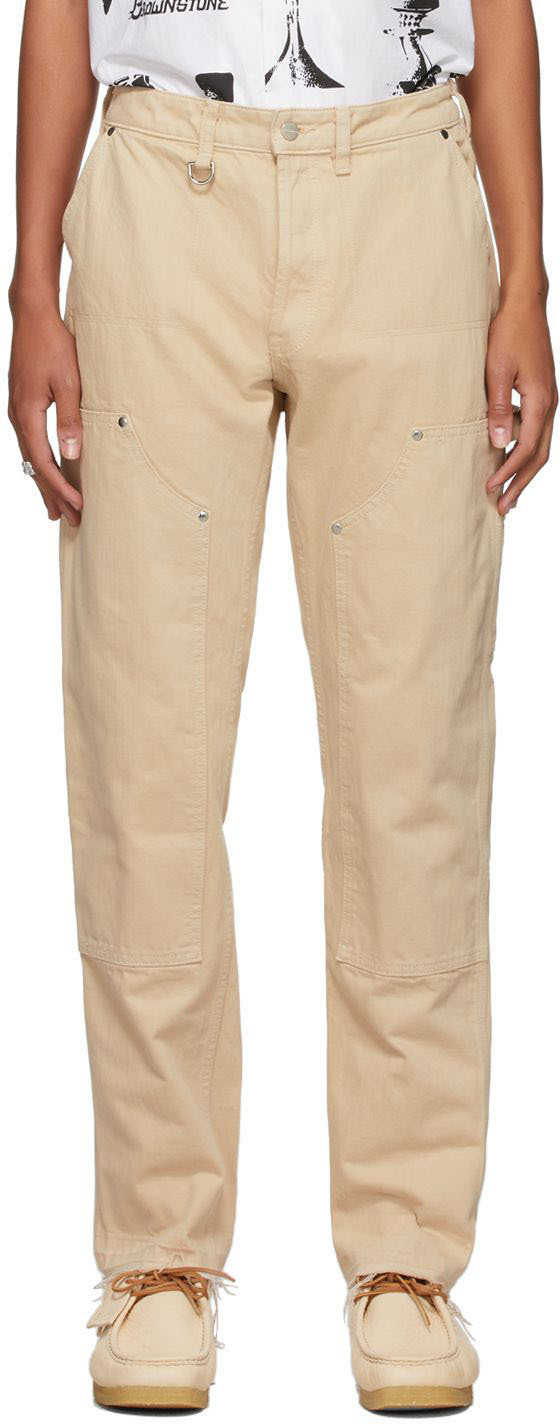 Brownstone Off-White Denim Double-Knee Trousers