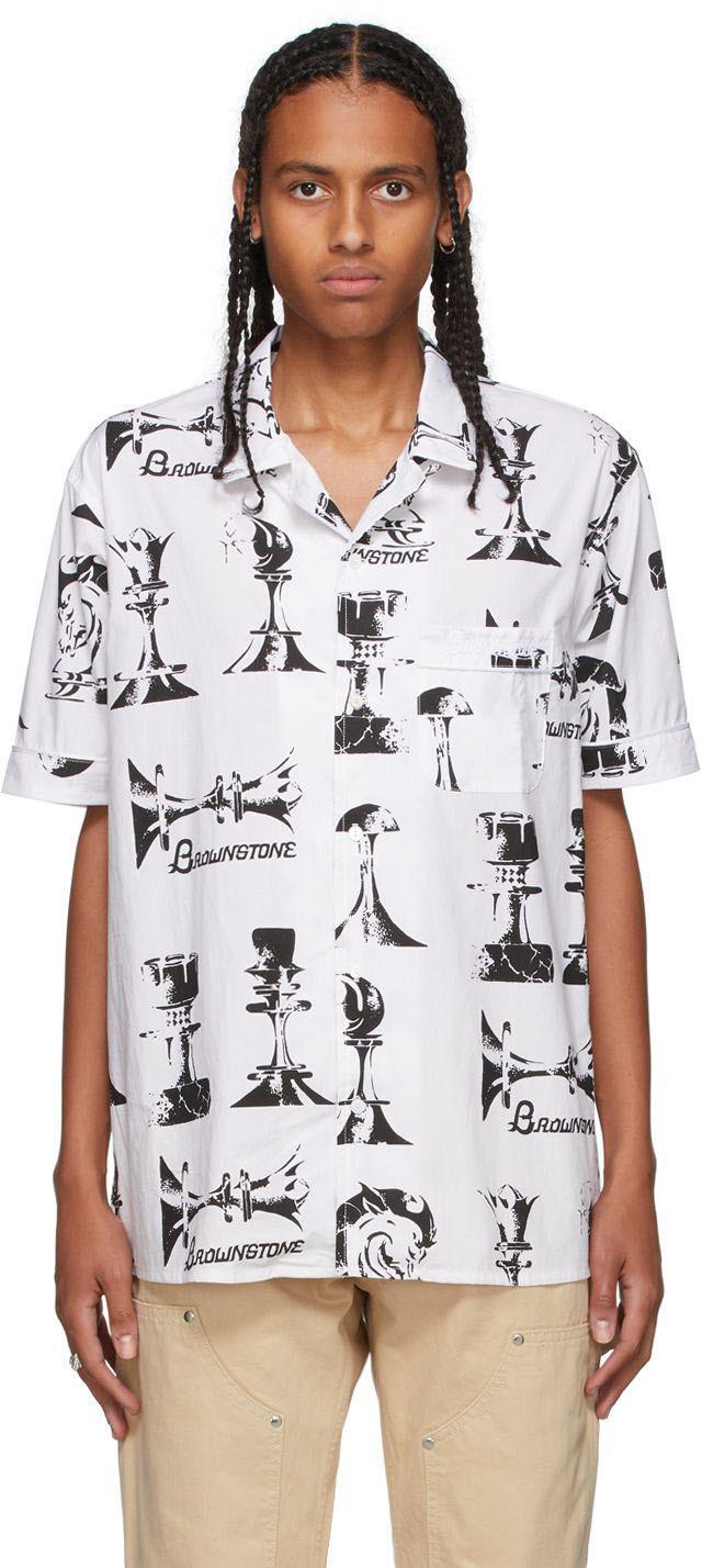 White Printed Short Sleeve Shirt