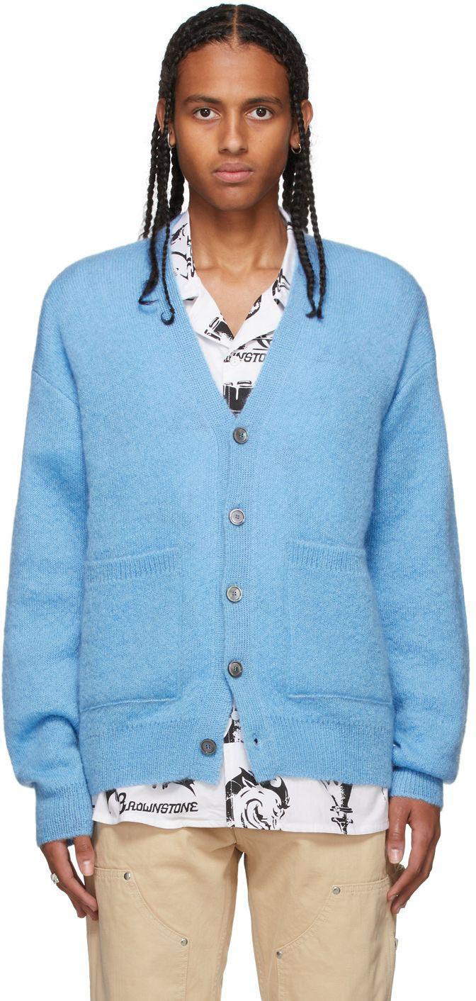 SSENSE Exclusive Blue Mohair Knit Cardigan
