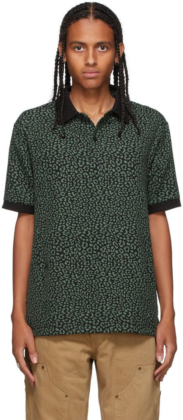 Green & Black Leopard Polo