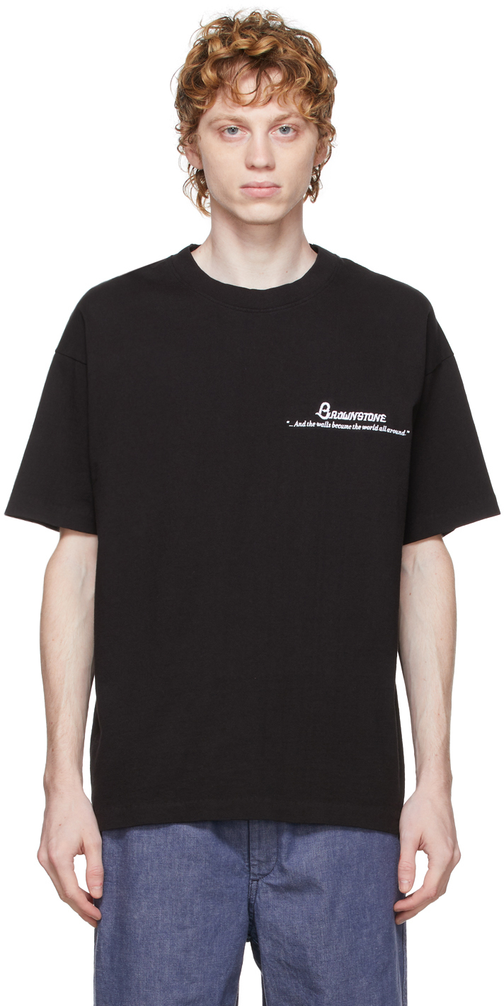 Brownstone Black Embroidered Cut & Sew Readymade T-Shirt