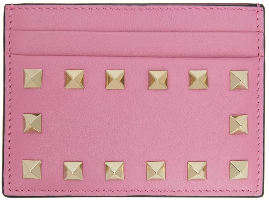 Valentino Garavani Pink Rockstud Card Holder