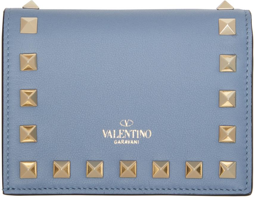 Valentino Garavani Blue Rockstud Flat French Wallet
