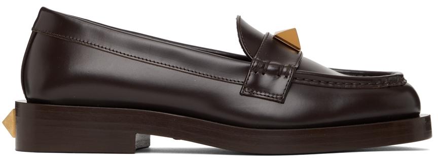 Valentino Garavani Brown Roman Stud Loafers