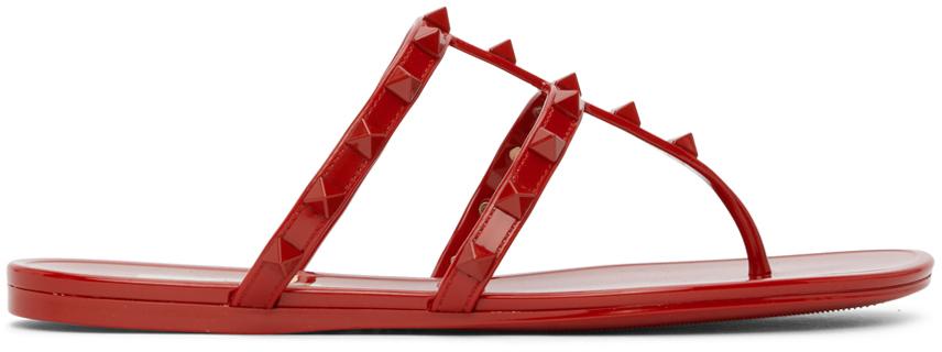 Valentino Garavani Red Rockstud Rubber Sandals
