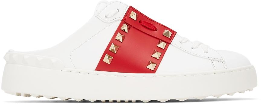 Valentino Garavani White & Red '11' Rockstud Untitled Slip-On Sneakers