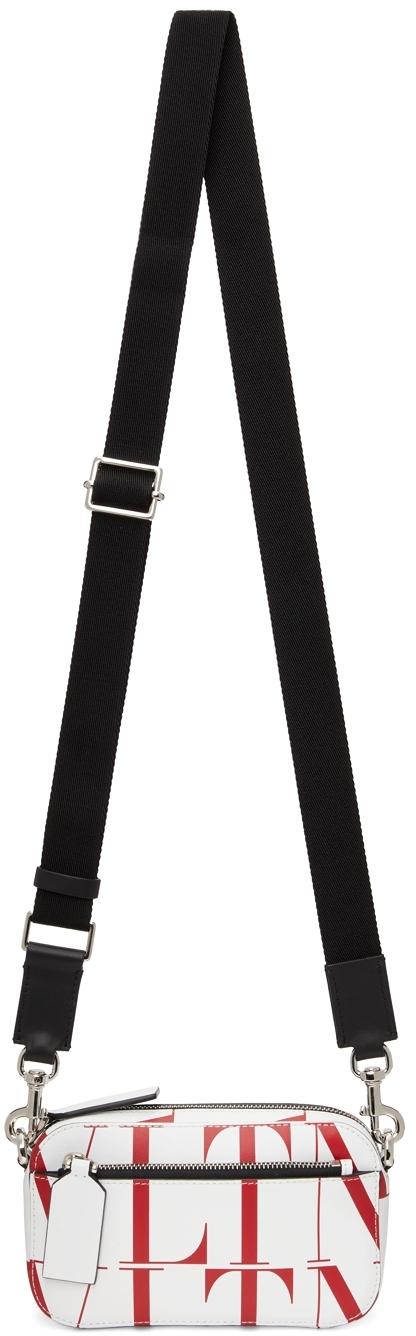 Valentino Garavani White & Red VLTN Times Small Crossbody Bag