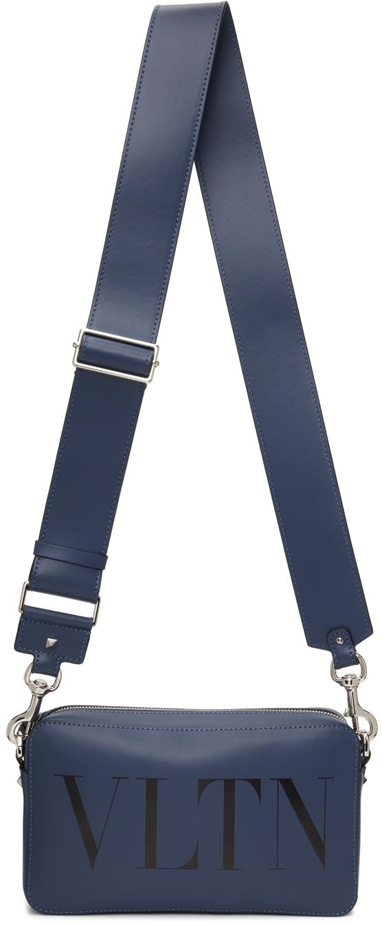 Valentino Garavani Indigo Leather 'VLTN' Crossbody Bag