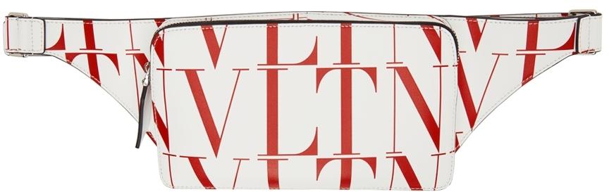 Valentino Garavani White & Red VLTN Times Belt Bag