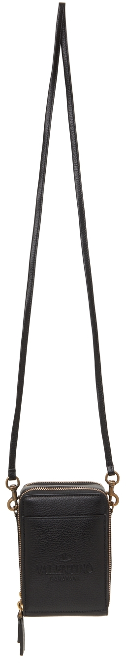 Valentino Garavani Black Leather Phone Pouch