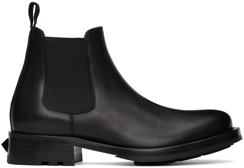 Valentino Garavani Black Roman Stud Chelsea Boots