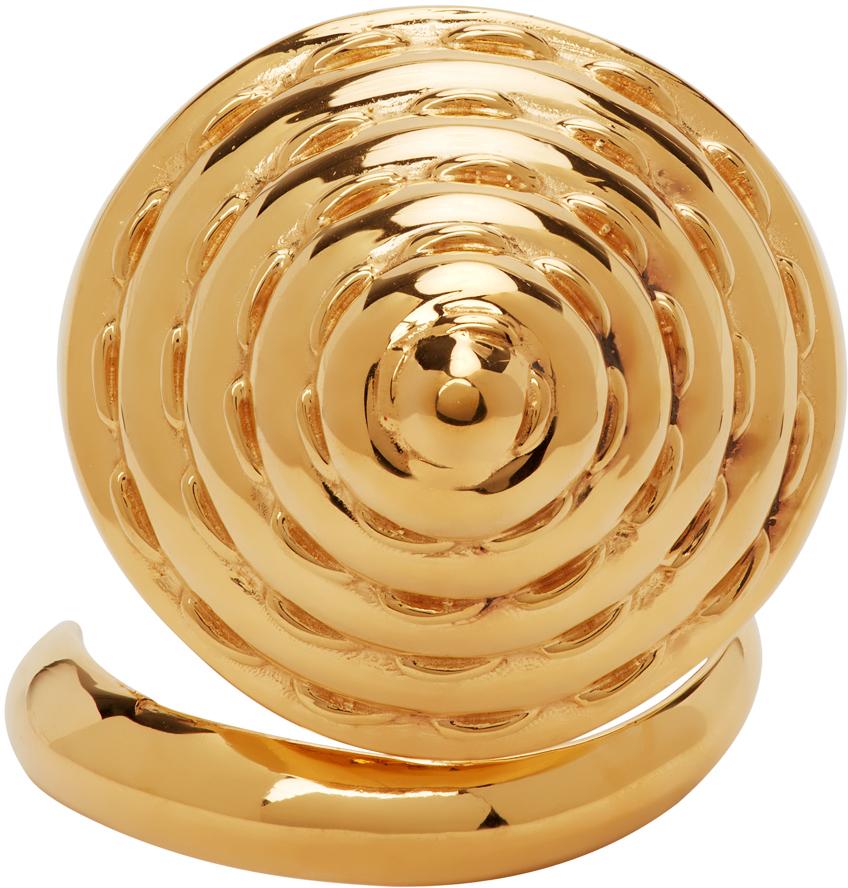 SSENSE Exclusive Gold Alan Crocetti Edition Cone Bra Knuckle Ring