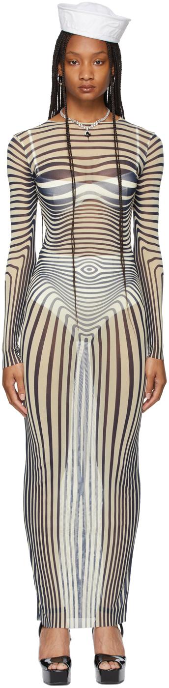 SSENSE Exclusive Beige Les Marins Mesh Body Stripe Dress