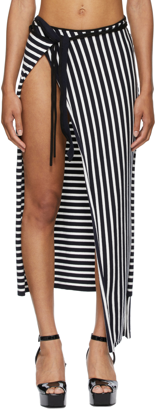SSENSE Exclusive White & Navy Ottolinger Edition Les Marins Patchwork Skirt