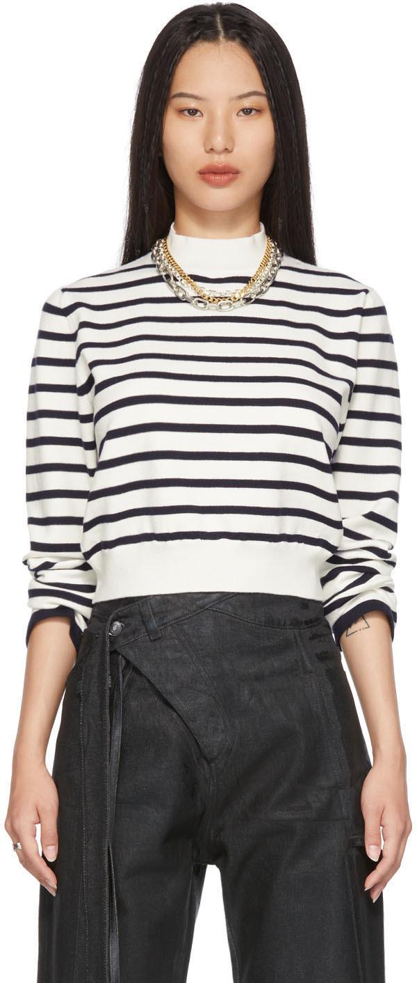 SSENSE Exclusive White Cut-Out Back Marinière Sweater