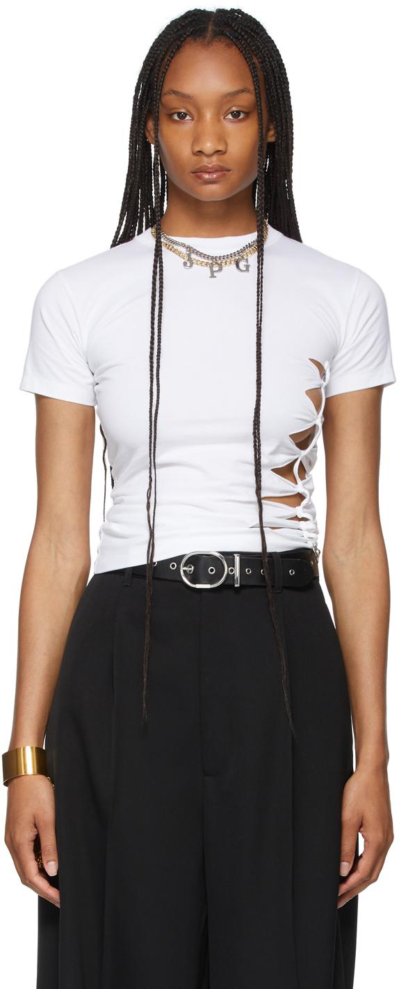 SSENSE Exclusive White Les Marins Slashed Piercing T-Shirt