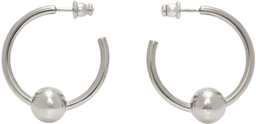 SSENSE Exclusive Silver Les Marins Logo Hoop Earrings