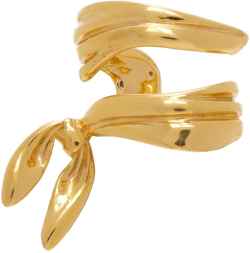 SSENSE Exclusive Gold Alan Crocetti Edition Double Wrap Bandana Single Ear Cuff
