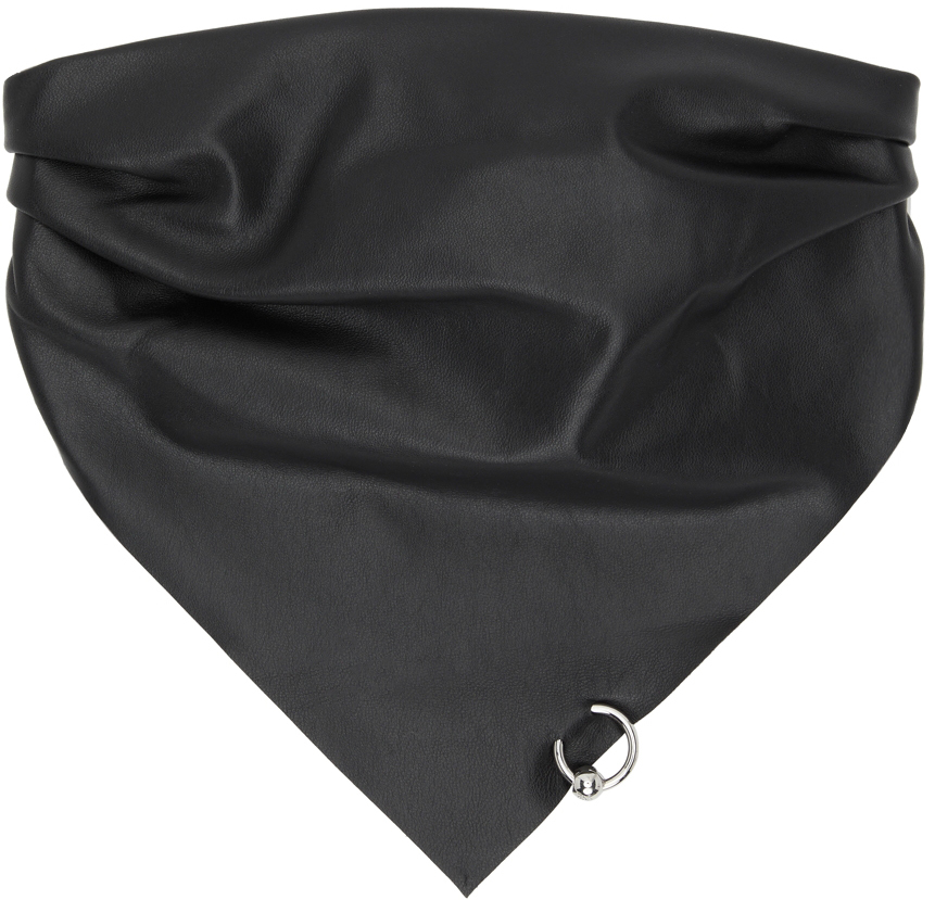 SSENSE Exclusive Black Les Marins Leather Piercing Scarf