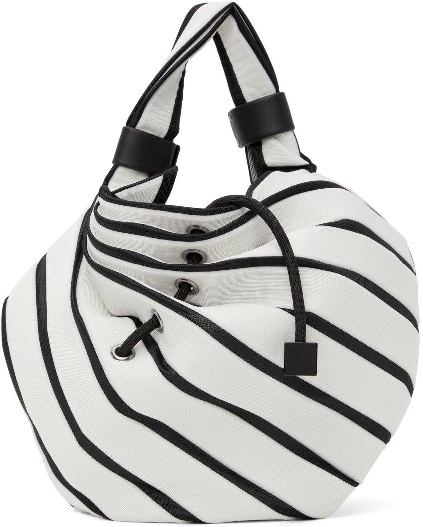 White & Black Linear Knit Tote