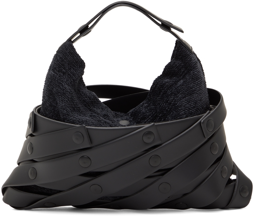 Black Spiral Grid Shoulder Bag
