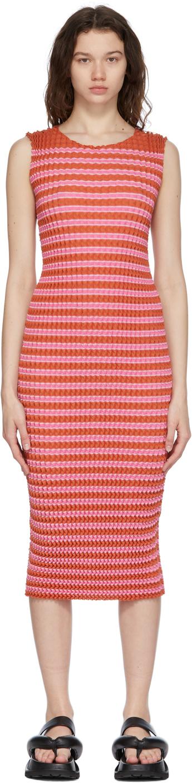 Pink Striped Spongy Dress