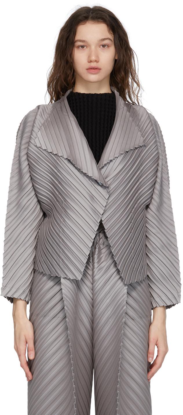 Grey CRT Pleats Jacket