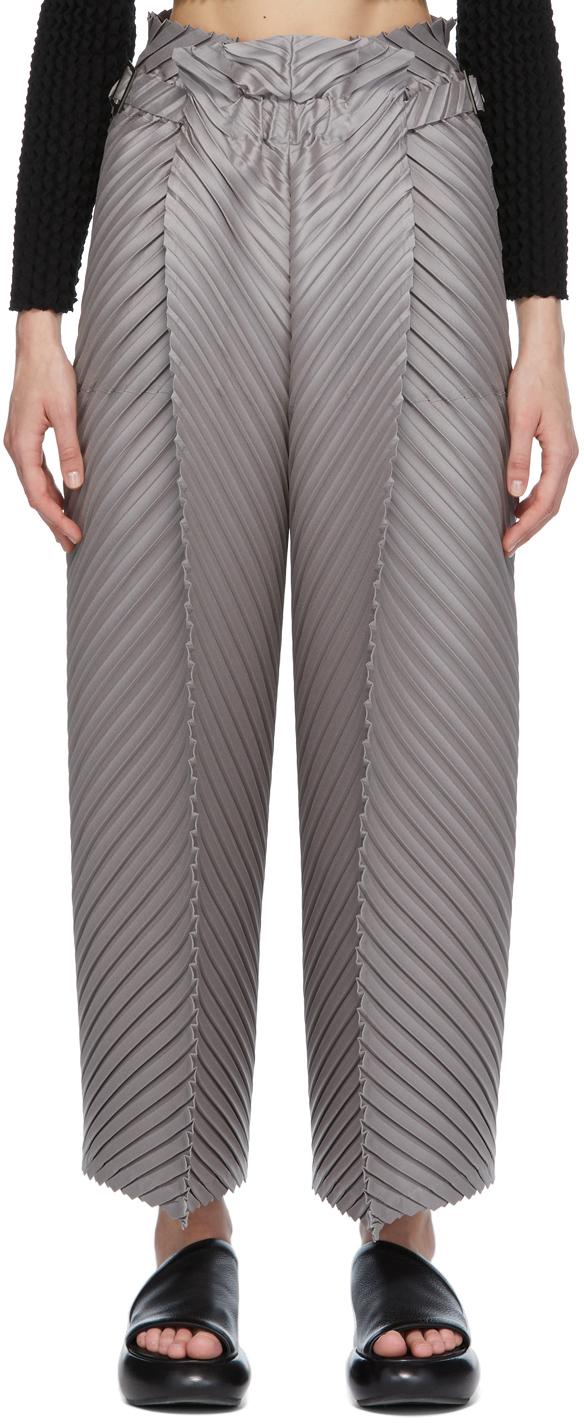Grey CRT Pleats Trousers