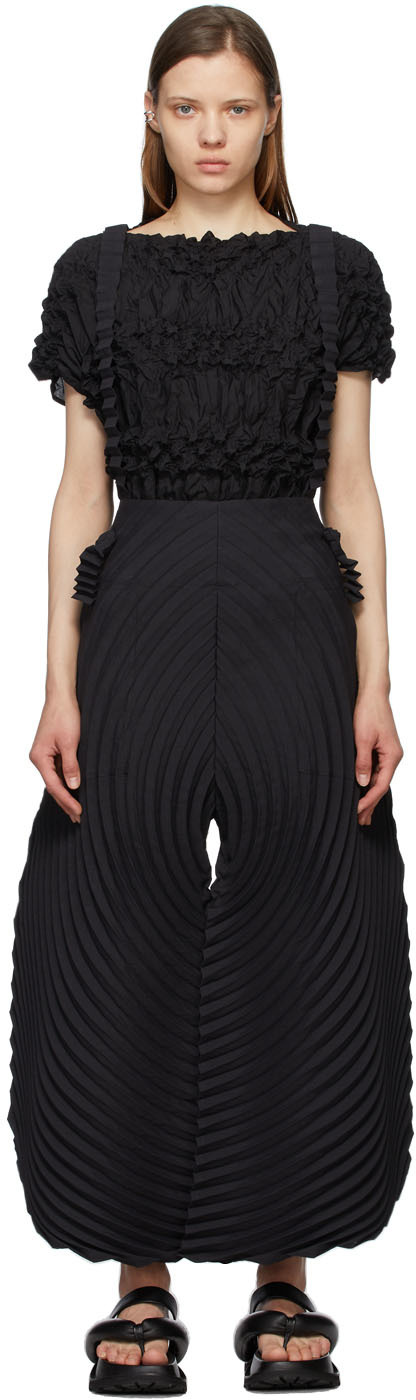 Black Wrapped Pleats Trousers