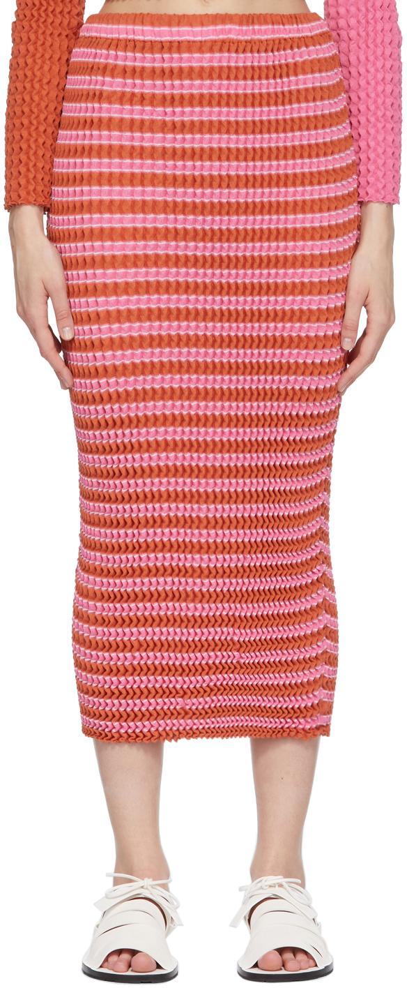 Pink Striped Spongy Skirt