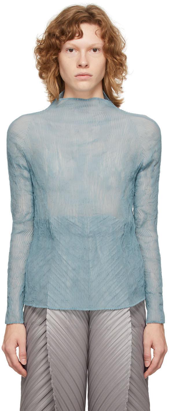 Blue Chiffon Twist Blouse