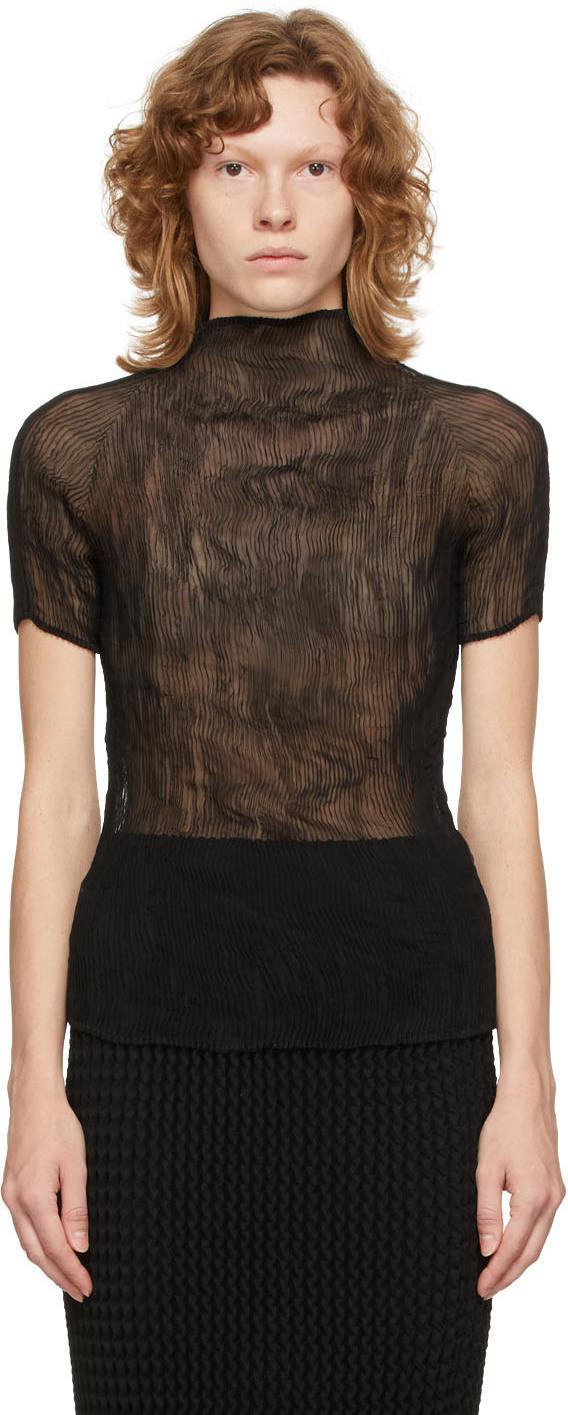 Black Chiffon Twist Short Sleeve Blouse