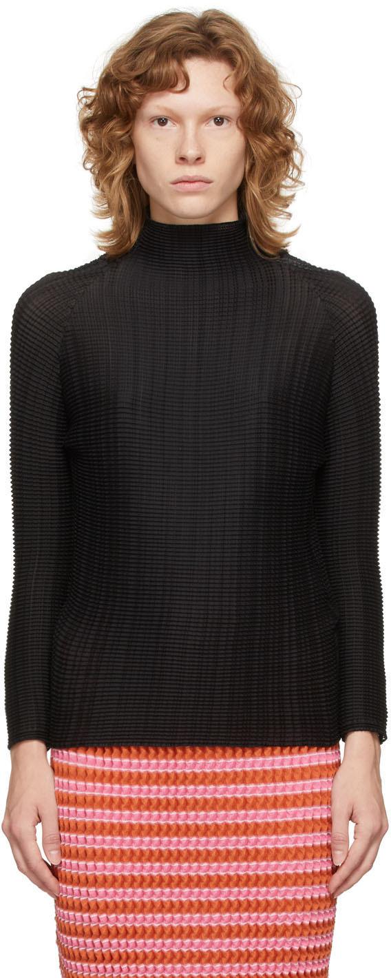 Black Wooly Pleats Blouse