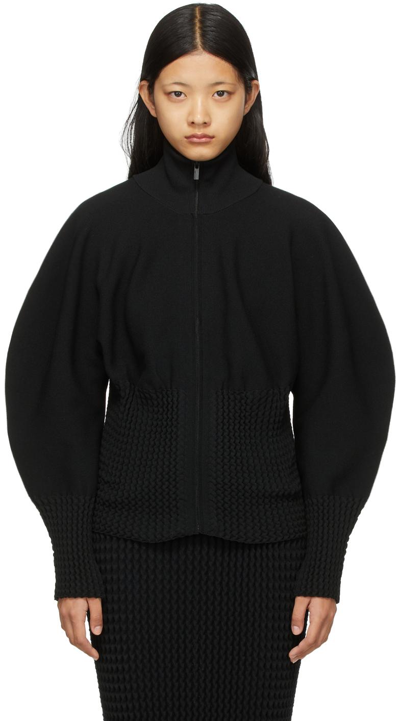 Black Squeeze Turtleneck Zip-Up Sweater