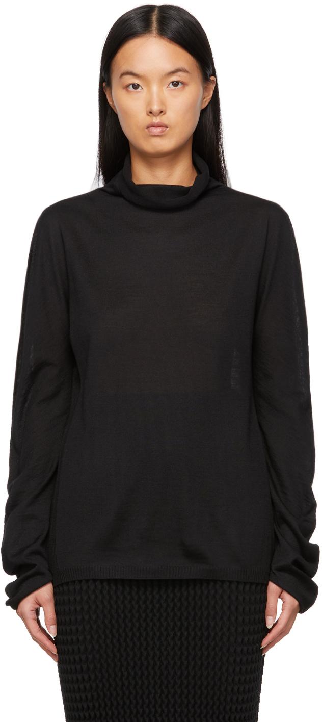 Black Wool Sheer Turtleneck