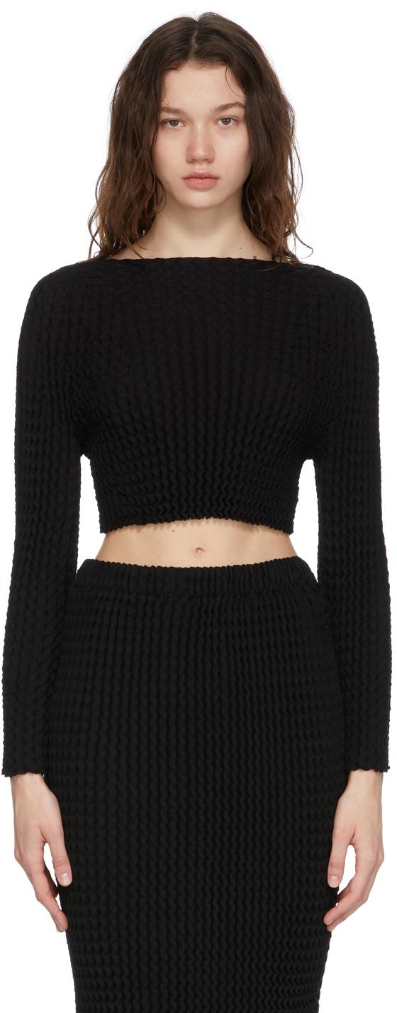 Black Spongy Long Sleeve T-Shirt