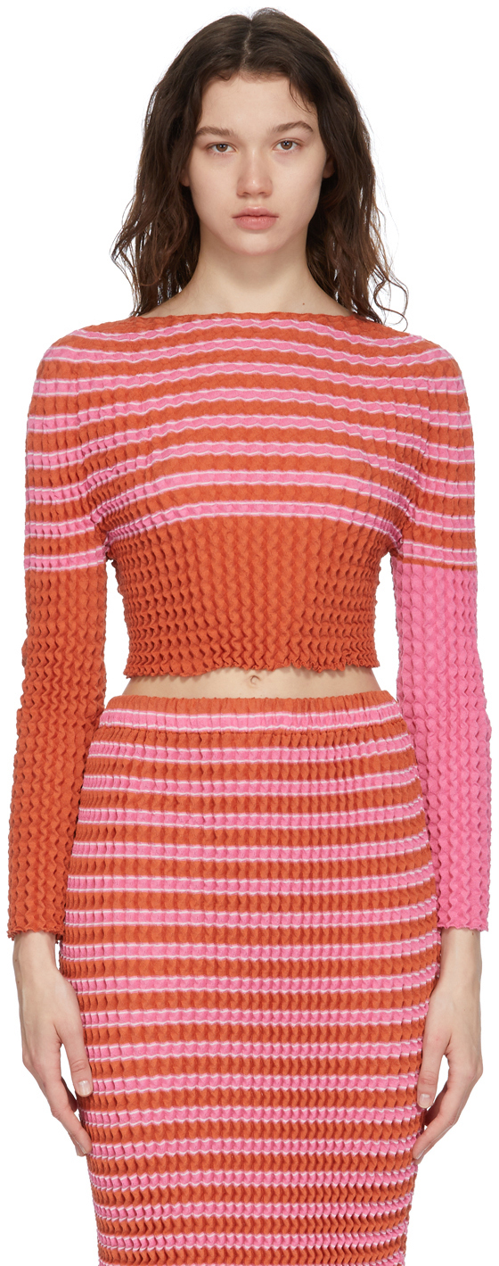 Pink Striped Spongy Long Sleeve T-Shirt