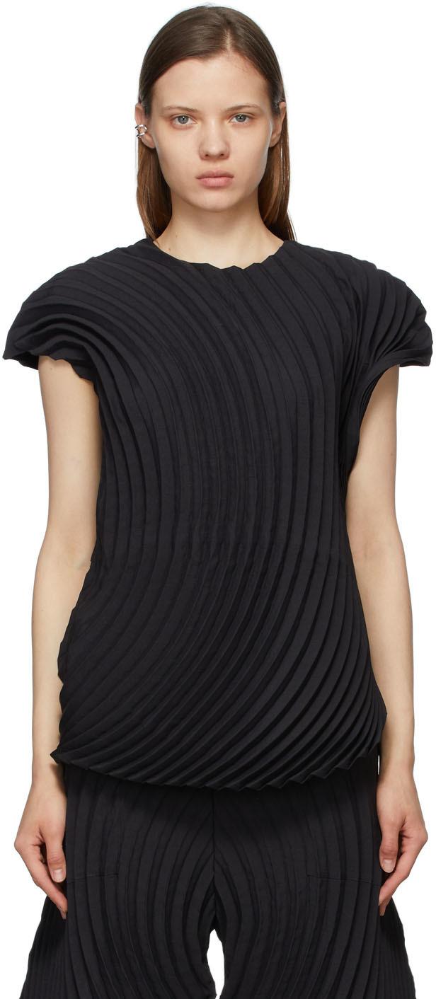 Black Wrapped Pleats T-Shirt