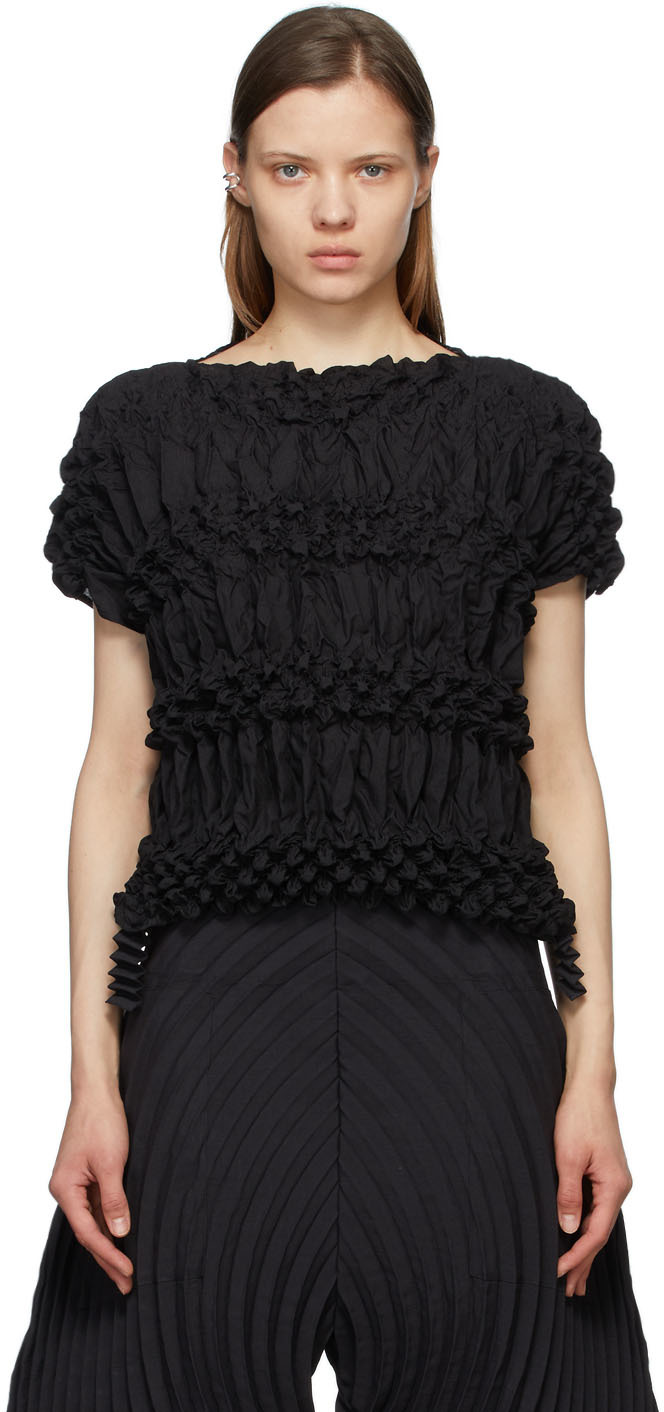 Black Dots Shibori Cropped T-Shirt