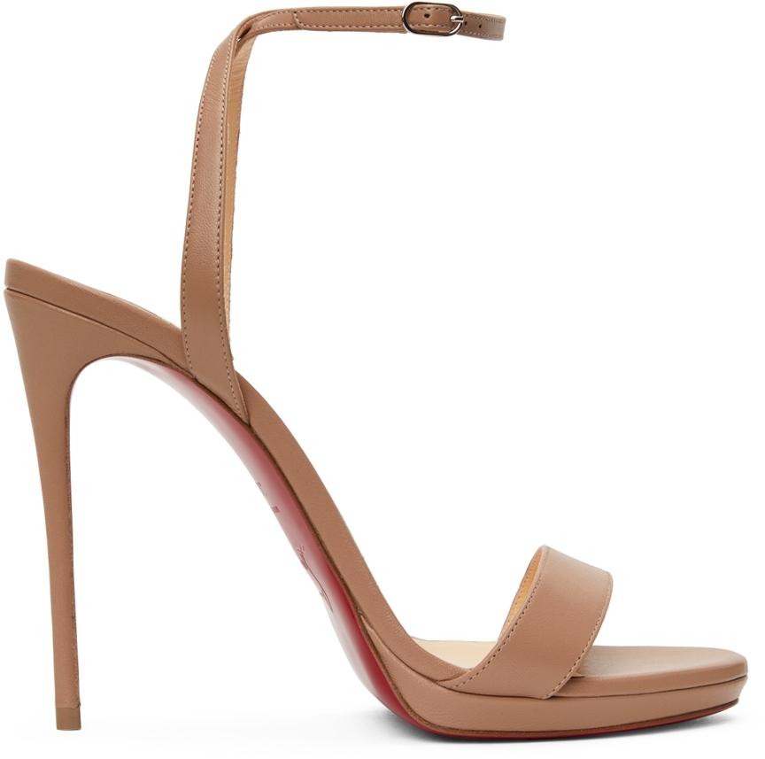 Beige Loubi Queen 120 Heeled Sandals
