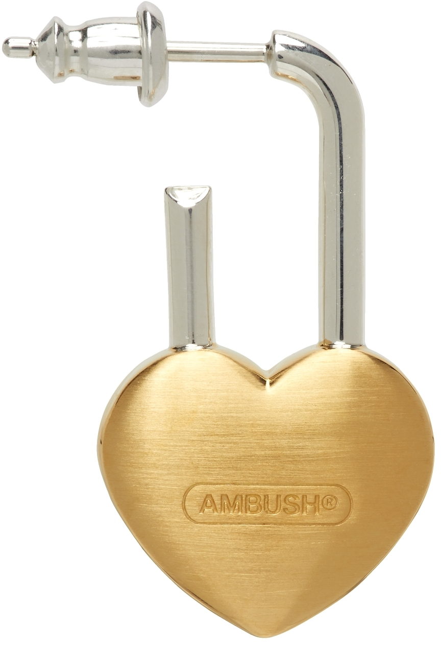 Gold Single Small Heart Padlock Earring