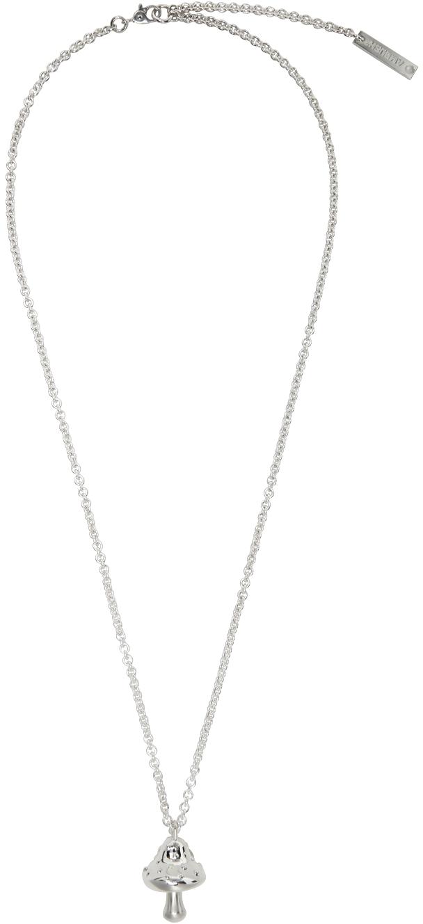 Silver Mushroom Charm Necklace
