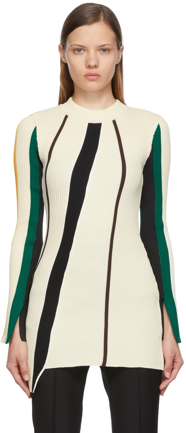 Off-White Ribbed Striped Dress