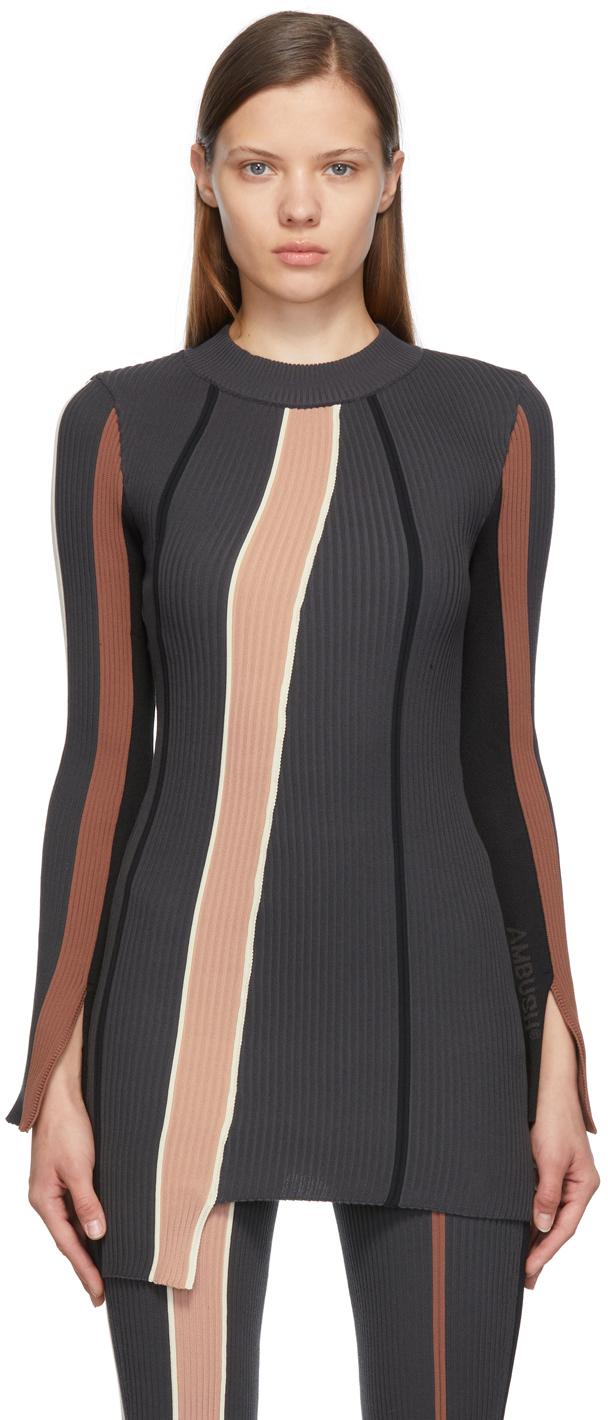 Grey Ribbed Striped Dress