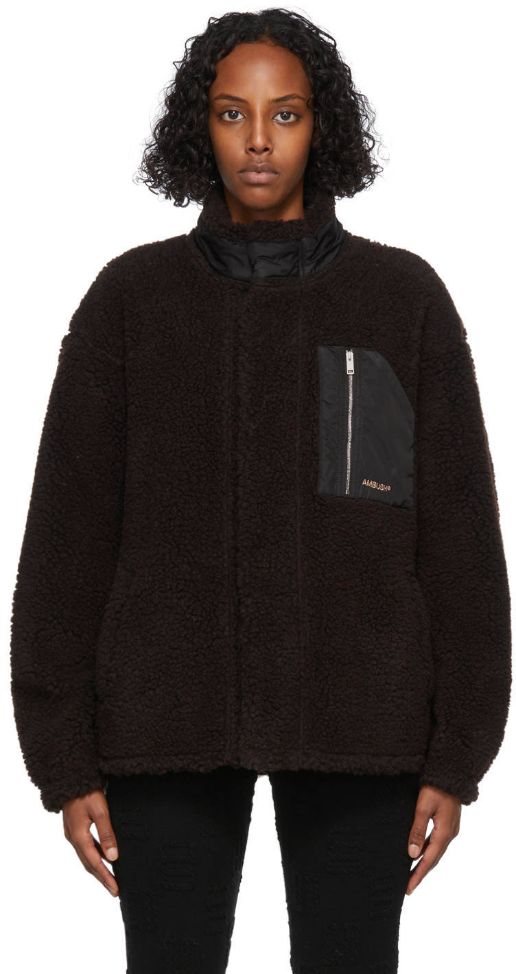 Brown & Beige Fleece Zip Jacket