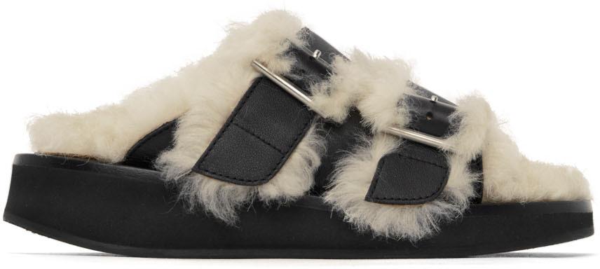 Black Fur Flat Sandals