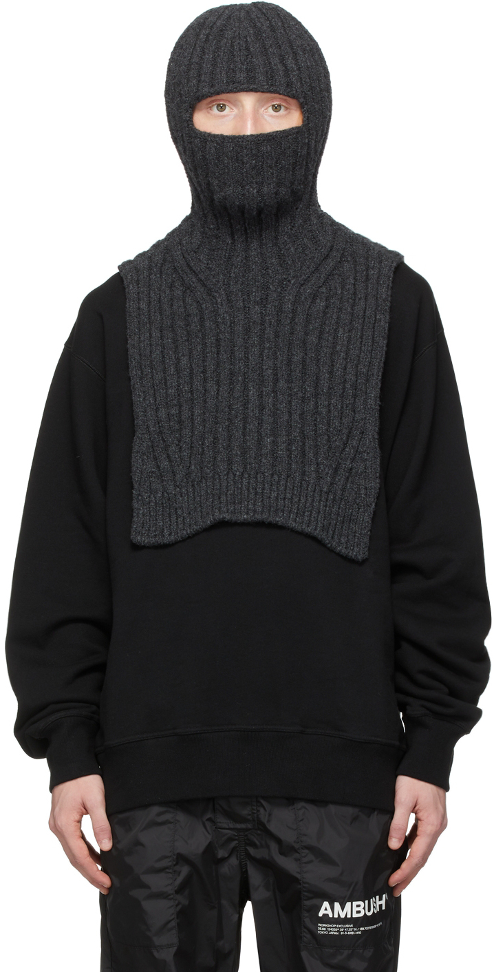 Grey Wool & Cashmere Balaclava